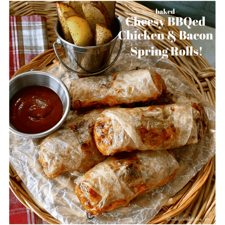 Baked Cheesy Barbecued Chicken & Bacon Spring Rolls