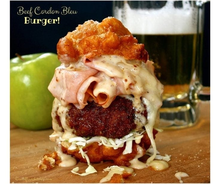 Beef Cordon Bleu Bacon Apple Fritter Burgers #BurgerMonth