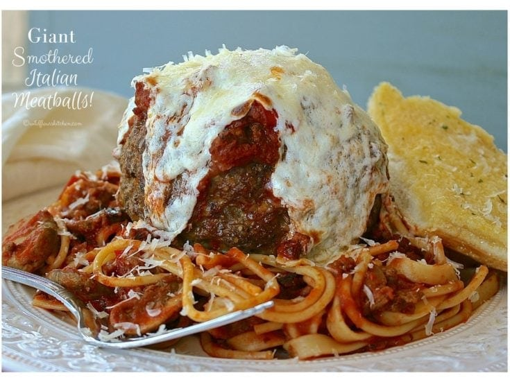 Giant Colossal Cheese Covered Meatballs
