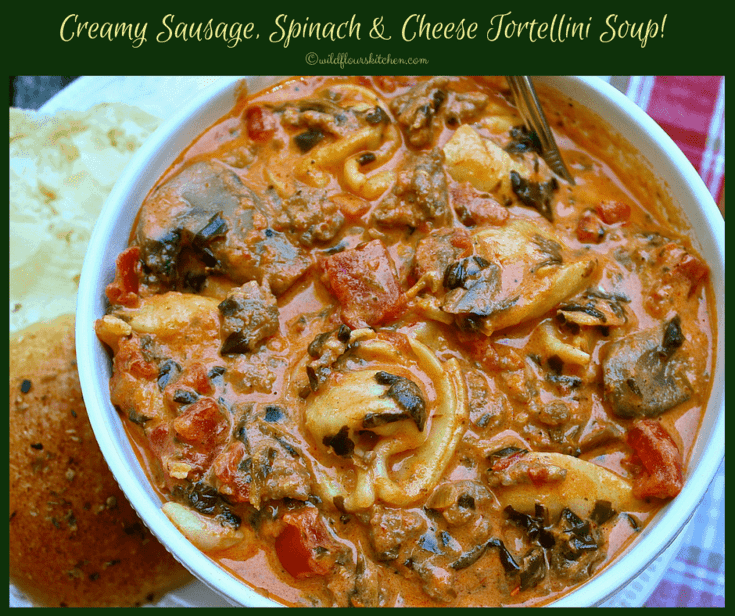 Creamy Sausage Spinach & Cheese Tortellini Soup