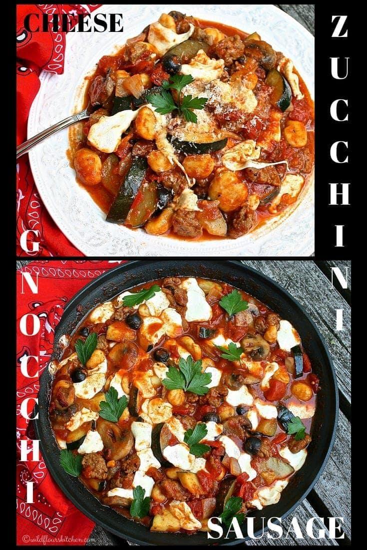Cheesy Zucchini, Gnocchi & Spicy Italian Sausage Skillet
