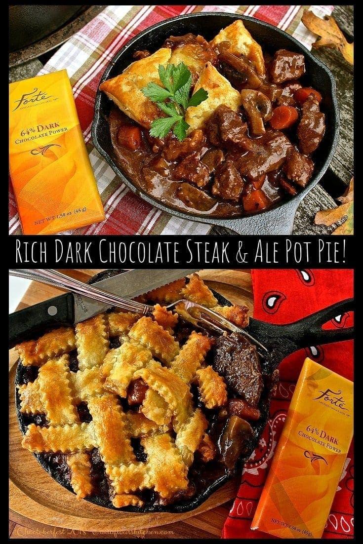 Rich Dark Chocolate Steak & Ale Pot Pie #Choctoberfest 2018