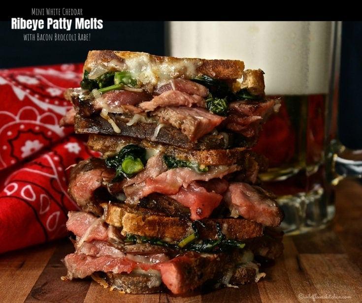 Mini White Cheddar Ribeye Patty Melts with Bacon Broccoli Rabe