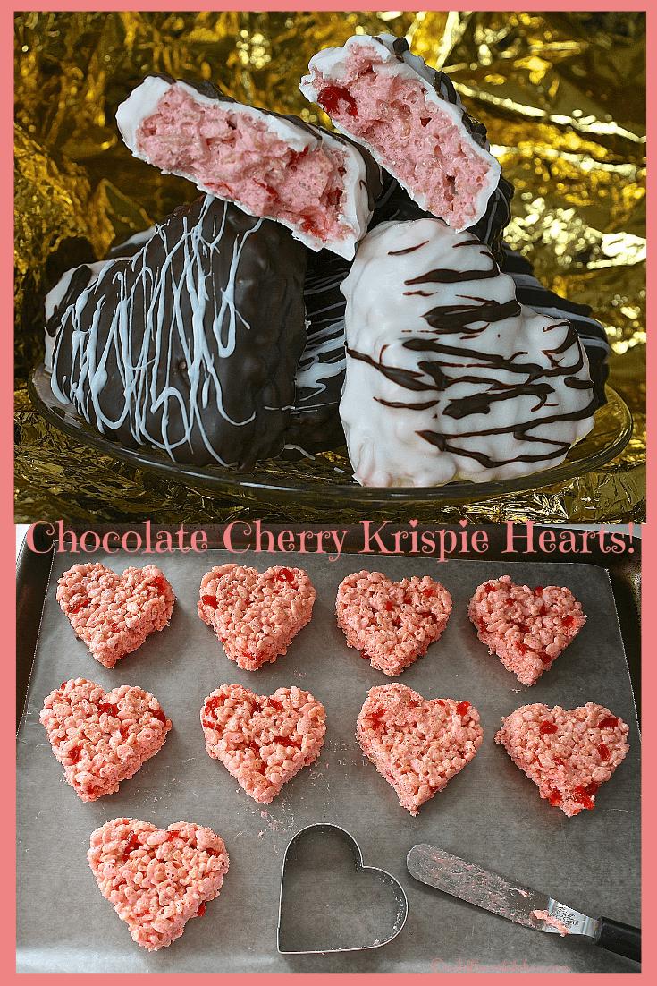 Valentine's Day Chocolate Cherry Rice Krispie Hearts