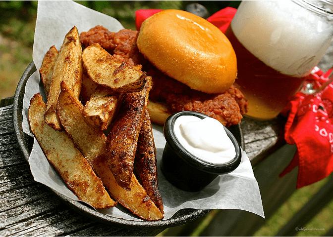 Nashville Hot Potato Wedges with Key Lime Ranch Sour Cream