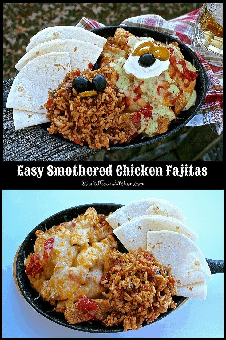 Easy Stovetop Smothered Chicken, Steak or Pork Fajitas