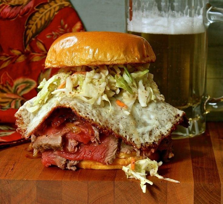 Cheese Skirt Ribeye and Bacon Sandwich with Honey Dijon Slaw