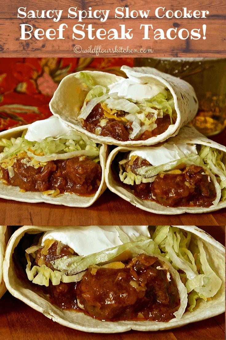 Saucy Spicy Slow Cooker Beef Steak Tacos
